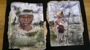 "Amelia Gibson - This second painting is of my brother dressed up in Fulani tribesmen material and spear. I titled it, ""hidden foreigner""; one of the most painful parts of coming to the UK. Surrounded by people who look like you, speak the same language, dress similarly, but at the same time are nothing like you. Different interests, experiences, view of reality. It can bring on so much loneliness and questioning of identity; during this place, you wonder where, if anywhere, you belong."