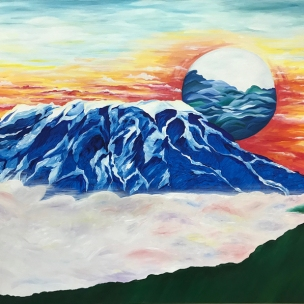 "Jaree Bell - ""Uzuri wa Kilimanjaro (The Beauty of Kilimanjaro)"" This is an oil and acrylic painting on canvas intended to illustrate the majesty of the tallest mountain in all of Africa and the breathtaking sunsets that set in East Africa. This painting is just a tiny glimpse really, of the majestic Lord who created it with just a word. Where the sun should be there are waves to represent the Indian Ocean I have grown up visiting on vacations. And the acacia tree in the bottom right corner I could not have left out. I created this piece to show the life and different aspects of nature our God has given humanity to enjoy and in their beauty— reflect their Creator."