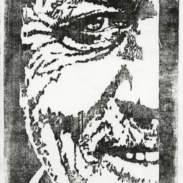 "Jaree Bell - ""Mzee (Old Man in Kiswahili)"" This is a woodcut print I completed my sophomore year of university. I love this piece because of the texture the wood gives to the face and the softness of the eyes. Reminds me of so many wise mzees in my life, whether they be from Tanzania, Kenya, South Africa, or America that have shared their wisdom with me and challenged me in so many ways."